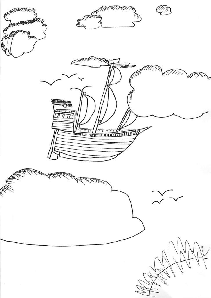 Church doodles - Flying sailing ship