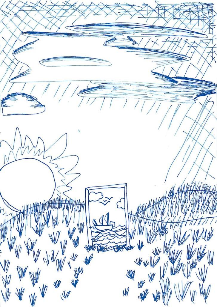 Church doodles - Meadow doorway at sunset